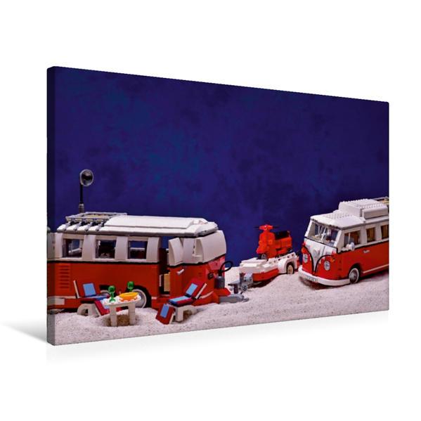 Premium Textil-Leinwand 75 cm x 50 cm quer, Ein Motiv aus dem Kalender Der LEGO Bulli und sein Anhang | Wandbild, Bild auf Keilrahmen, Fertigbild auf echter Leinwand, Leinwanddruck - Coverbild