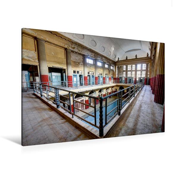Premium Textil-Leinwand 120 cm x 80 cm quer, Schwimmbereich | Wandbild, Bild auf Keilrahmen, Fertigbild auf echter Leinwand, Leinwanddruck - Coverbild