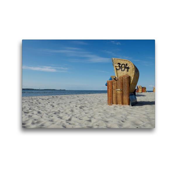 Premium Textil-Leinwand 45 cm x 30 cm quer, Strandkorb - Impression   Wandbild, Bild auf Keilrahmen, Fertigbild auf echter Leinwand, Leinwanddruck - Coverbild
