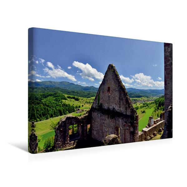 Premium Textil-Leinwand 45 cm x 30 cm quer, Blick von der Hochburg zum Schwarzwald mit dem schönen Nachbarort Sexau | Wandbild, Bild auf Keilrahmen, Fertigbild auf echter Leinwand, Leinwanddruck - Coverbild