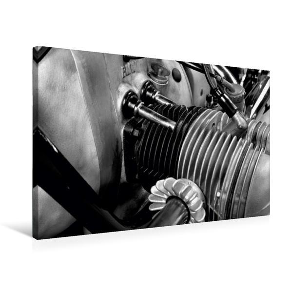 Premium Textil-Leinwand 75 cm x 50 cm quer, Ein Motiv aus dem Kalender BMW R69S in schwarzweiss | Wandbild, Bild auf Keilrahmen, Fertigbild auf echter Leinwand, Leinwanddruck - Coverbild