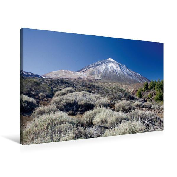 Premium Textil-Leinwand 90 cm x 60 cm quer, Teneriffa - Teide mit Schneekuppe | Wandbild, Bild auf Keilrahmen, Fertigbild auf echter Leinwand, Leinwanddruck - Coverbild