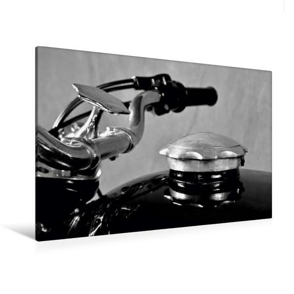 Premium Textil-Leinwand 120 cm x 80 cm quer, Ein Motiv aus dem Kalender BMW R69S in schwarzweiss | Wandbild, Bild auf Keilrahmen, Fertigbild auf echter Leinwand, Leinwanddruck - Coverbild