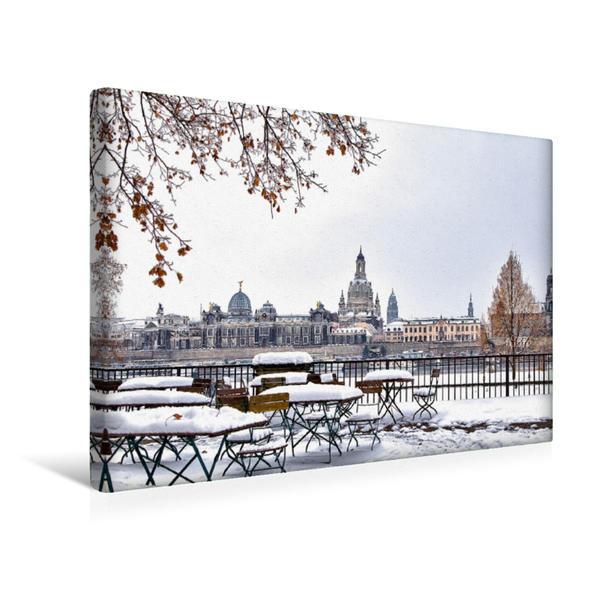 Premium Textil-Leinwand 45 cm x 30 cm quer, Winter in Dresden | Wandbild, Bild auf Keilrahmen, Fertigbild auf echter Leinwand, Leinwanddruck - Coverbild