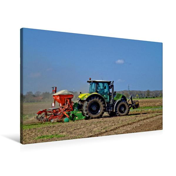 Premium Textil-Leinwand 90 cm x 60 cm quer, Dünger streuen | Wandbild, Bild auf Keilrahmen, Fertigbild auf echter Leinwand, Leinwanddruck - Coverbild
