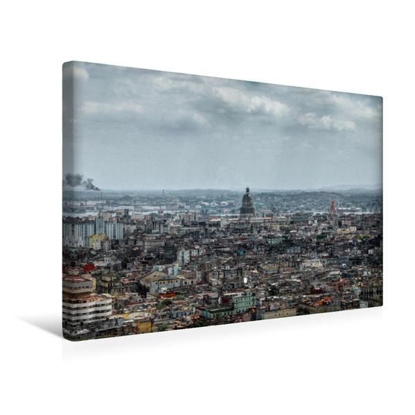 Premium Textil-Leinwand 45 cm x 30 cm quer, Blick über Havanna Richtung Capitolio | Wandbild, Bild auf Keilrahmen, Fertigbild auf echter Leinwand, Leinwanddruck - Coverbild