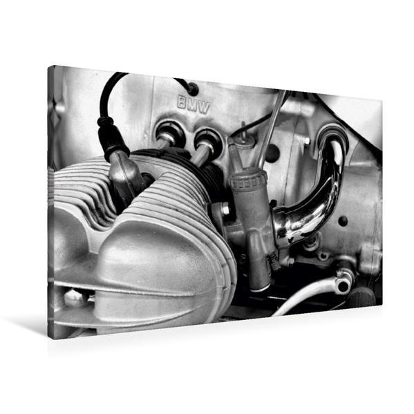 Premium Textil-Leinwand 90 cm x 60 cm quer, Ein Motiv aus dem Kalender BMW R69S in schwarzweiss | Wandbild, Bild auf Keilrahmen, Fertigbild auf echter Leinwand, Leinwanddruck - Coverbild