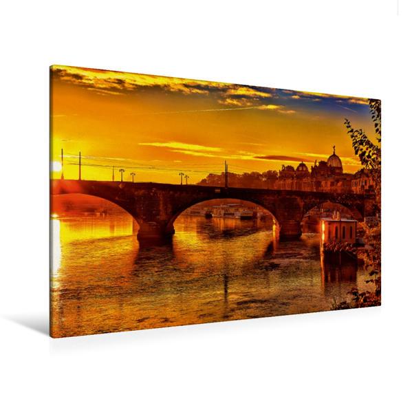 Premium Textil-Leinwand 120 cm x 80 cm quer, Sonnenaufgang über der Elbe in Dresden | Wandbild, Bild auf Keilrahmen, Fertigbild auf echter Leinwand, Leinwanddruck - Coverbild