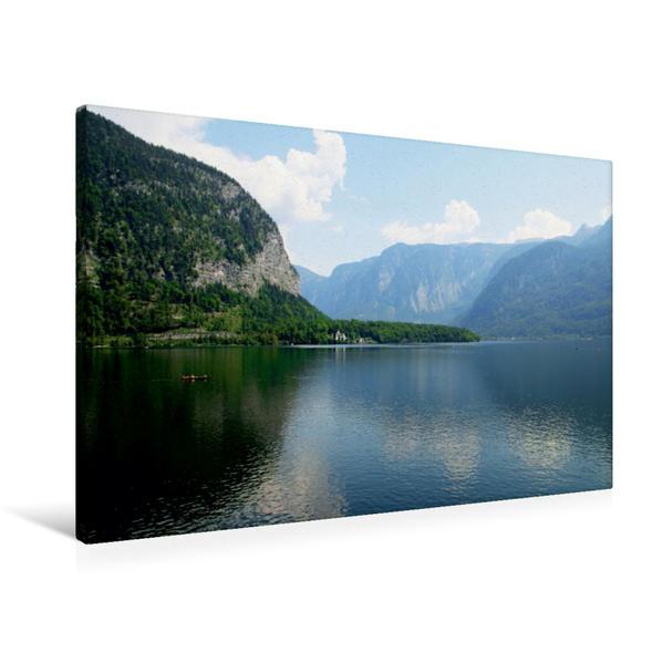 Premium Textil-Leinwand 90 cm x 60 cm quer, Mit dem Boot über den Hallstätter See | Wandbild, Bild auf Keilrahmen, Fertigbild auf echter Leinwand, Leinwanddruck - Coverbild