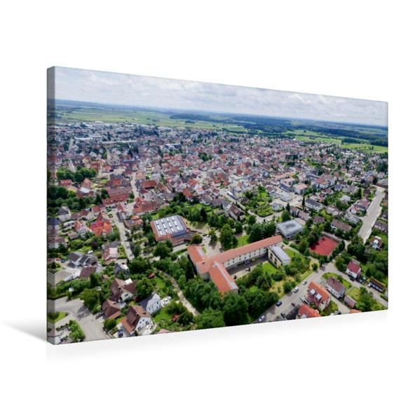 Premium Textil-Leinwand 75 cm x 50 cm quer, Stadt Laichingen mit Blick auf Stadtmitte   Wandbild, Bild auf Keilrahmen, Fertigbild auf echter Leinwand, Leinwanddruck - Coverbild