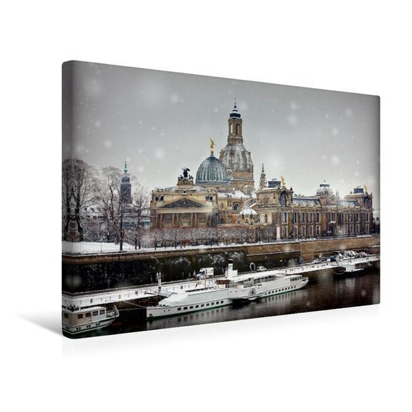 Premium Textil-Leinwand 45 cm x 30 cm quer, Blick von der Carolabrücke im Winter   Wandbild, Bild auf Keilrahmen, Fertigbild auf echter Leinwand, Leinwanddruck - Coverbild