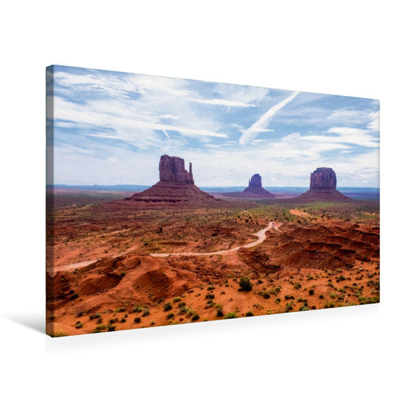 Premium Textil-Leinwand 75 cm x 50 cm quer, Monument Valley | Wandbild, Bild auf Keilrahmen, Fertigbild auf echter Leinwand, Leinwanddruck - Coverbild