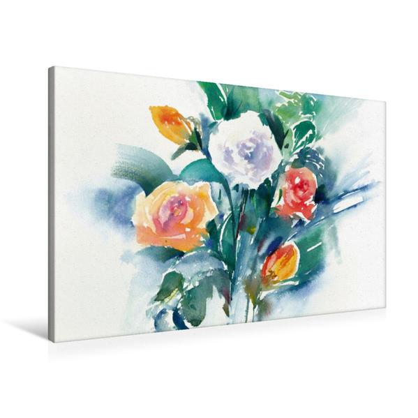 Premium Textil-Leinwand 90 cm x 60 cm quer, Rosen | Wandbild, Bild auf Keilrahmen, Fertigbild auf echter Leinwand, Leinwanddruck - Coverbild