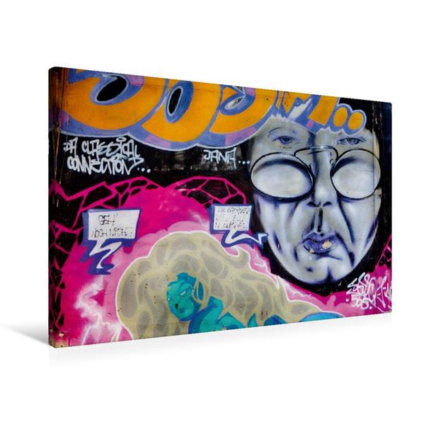 Premium Textil-Leinwand 90 cm x 60 cm quer, Graffiti an der Turnhalle Gamigstraße | Wandbild, Bild auf Keilrahmen, Fertigbild auf echter Leinwand, Leinwanddruck - Coverbild