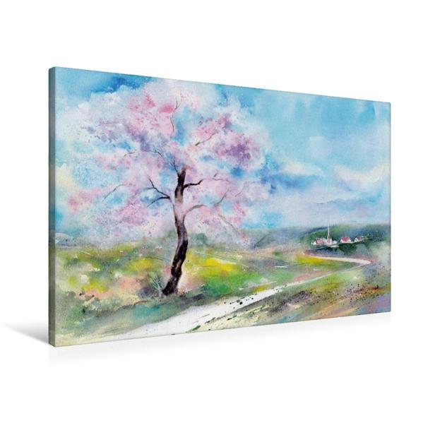 Premium Textil-Leinwand 90 cm x 60 cm quer, Ein Motiv aus dem Kalender Jahreszeiten Aquarelle | Wandbild, Bild auf Keilrahmen, Fertigbild auf echter Leinwand, Leinwanddruck - Coverbild