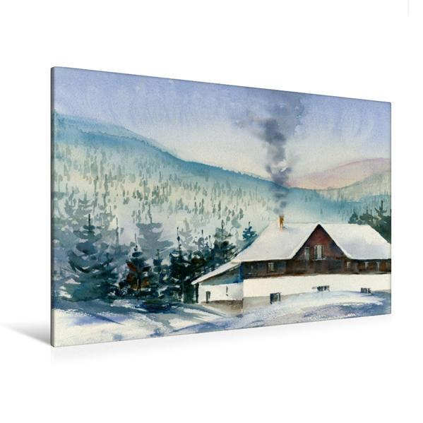 Premium Textil-Leinwand 120 cm x 80 cm quer, Winterurlaub | Wandbild, Bild auf Keilrahmen, Fertigbild auf echter Leinwand, Leinwanddruck - Coverbild