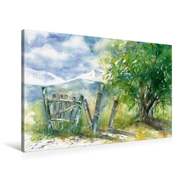 Premium Textil-Leinwand 90 cm x 60 cm quer, Baum und Zaun | Wandbild, Bild auf Keilrahmen, Fertigbild auf echter Leinwand, Leinwanddruck - Coverbild