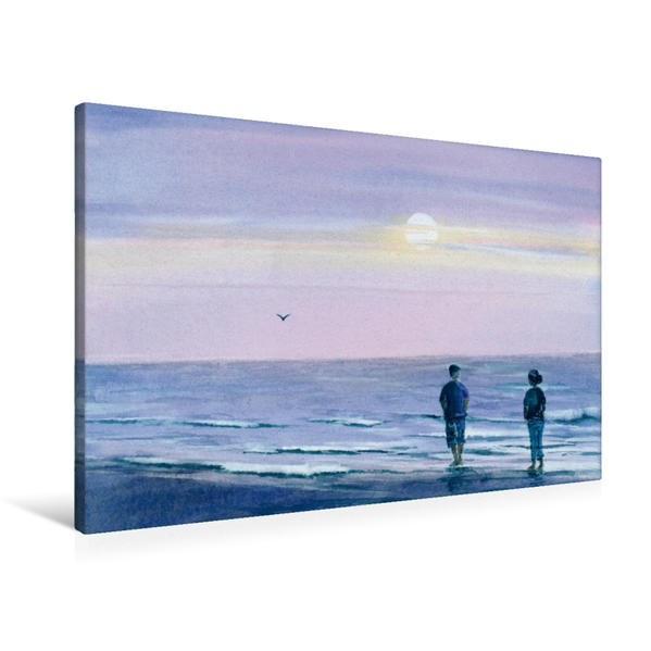 Premium Textil-Leinwand 90 cm x 60 cm quer, Abends am Meer | Wandbild, Bild auf Keilrahmen, Fertigbild auf echter Leinwand, Leinwanddruck - Coverbild