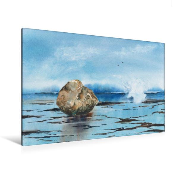 Premium Textil-Leinwand 120 cm x 80 cm quer, Fels in der Brandung | Wandbild, Bild auf Keilrahmen, Fertigbild auf echter Leinwand, Leinwanddruck - Coverbild