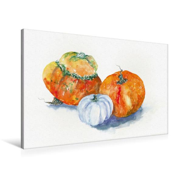 Premium Textil-Leinwand 90 cm x 60 cm quer, Kürbisse in Orange   Wandbild, Bild auf Keilrahmen, Fertigbild auf echter Leinwand, Leinwanddruck - Coverbild