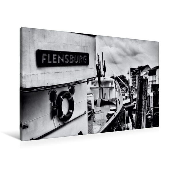 Premium Textil-Leinwand 90 cm x 60 cm quer, Schiff im Flensburger Hafen | Wandbild, Bild auf Keilrahmen, Fertigbild auf echter Leinwand, Leinwanddruck - Coverbild