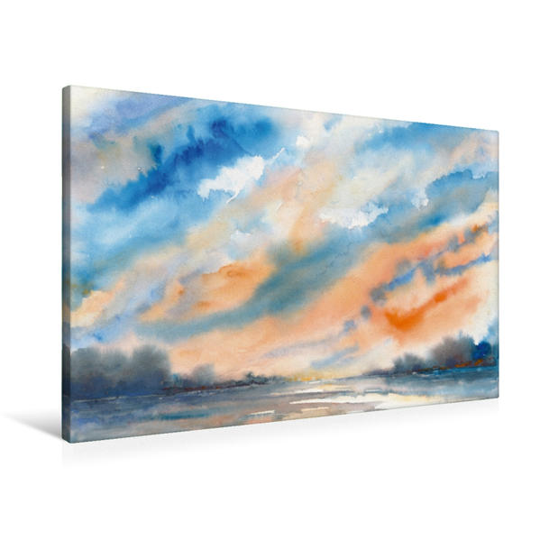 Premium Textil-Leinwand 90 cm x 60 cm quer, Morgenhimmel | Wandbild, Bild auf Keilrahmen, Fertigbild auf echter Leinwand, Leinwanddruck - Coverbild