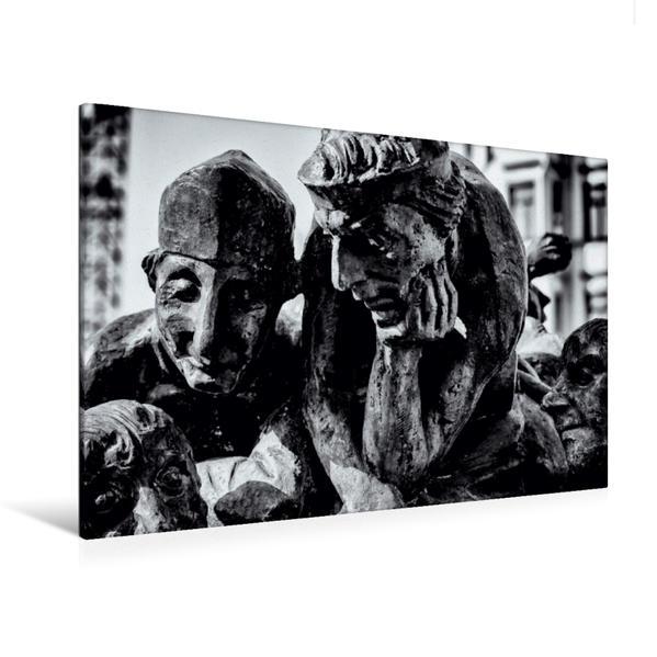 Premium Textil-Leinwand 120 cm x 80 cm quer, Hallmarkt | Wandbild, Bild auf Keilrahmen, Fertigbild auf echter Leinwand, Leinwanddruck - Coverbild
