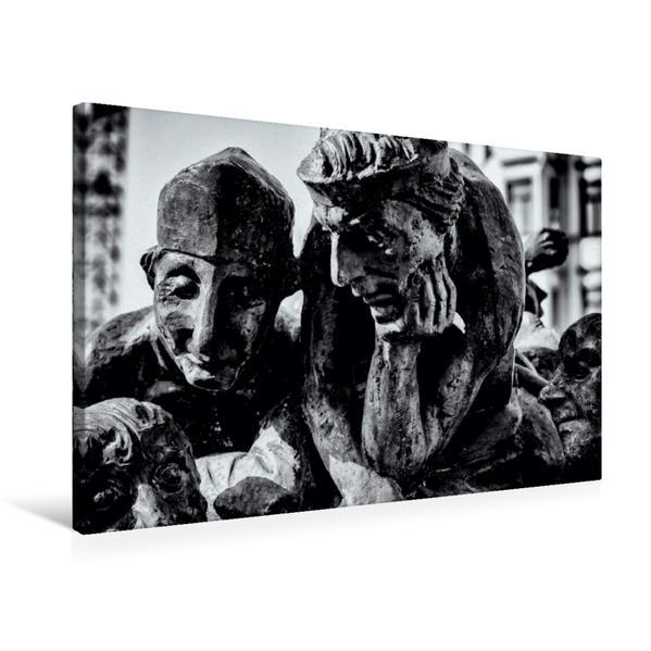 Premium Textil-Leinwand 75 cm x 50 cm quer, Hallmarkt | Wandbild, Bild auf Keilrahmen, Fertigbild auf echter Leinwand, Leinwanddruck - Coverbild