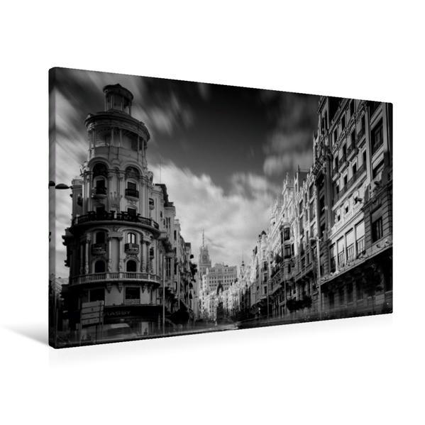 Premium Textil-Leinwand 90 cm x 60 cm quer, Gran Via   Wandbild, Bild auf Keilrahmen, Fertigbild auf echter Leinwand, Leinwanddruck - Coverbild