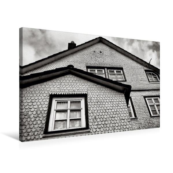 Premium Textil-Leinwand 75 cm x 50 cm quer, Schindelfassade | Wandbild, Bild auf Keilrahmen, Fertigbild auf echter Leinwand, Leinwanddruck - Coverbild
