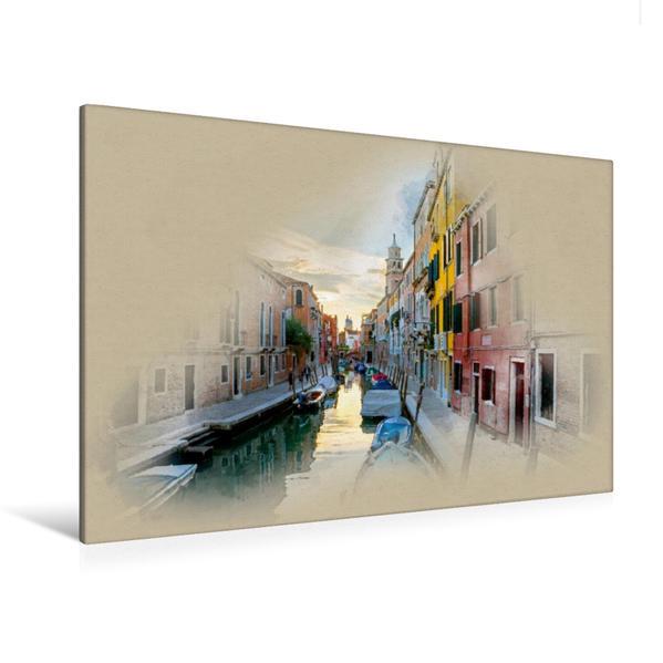 Premium Textil-Leinwand 120 cm x 80 cm quer, Rio Di Ca Foscari | Wandbild, Bild auf Keilrahmen, Fertigbild auf echter Leinwand, Leinwanddruck - Coverbild