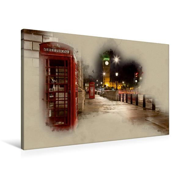 Premium Textil-Leinwand 90 cm x 60 cm quer, Nacht in London / Big Ben | Wandbild, Bild auf Keilrahmen, Fertigbild auf echter Leinwand, Leinwanddruck - Coverbild