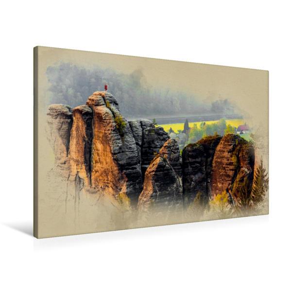 Premium Textil-Leinwand 90 cm x 60 cm quer, Blick auf den Mönch von der Felsenburg Neurathen | Wandbild, Bild auf Keilrahmen, Fertigbild auf echter Leinwand, Leinwanddruck - Coverbild