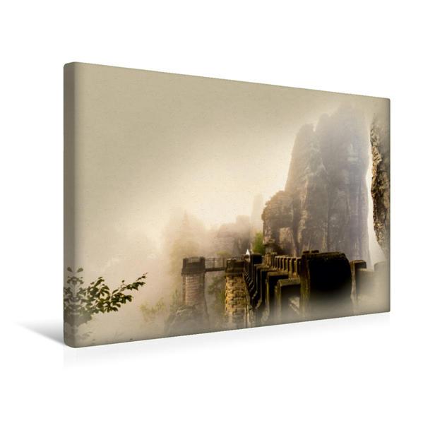 Premium Textil-Leinwand 45 cm x 30 cm quer, Die Basteibrücke im Nebel | Wandbild, Bild auf Keilrahmen, Fertigbild auf echter Leinwand, Leinwanddruck - Coverbild