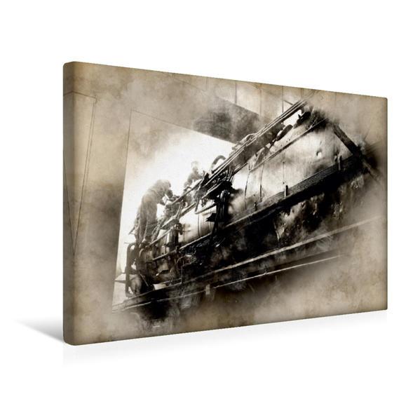 Premium Textil-Leinwand 45 cm x 30 cm quer, Dampflok vom Typ 503648-8   Wandbild, Bild auf Keilrahmen, Fertigbild auf echter Leinwand, Leinwanddruck - Coverbild