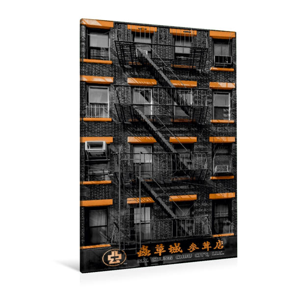 Premium Textil-Leinwand 80 cm x 120 cm  hoch, New York Chinatown | Wandbild, Bild auf Keilrahmen, Fertigbild auf echter Leinwand, Leinwanddruck - Coverbild