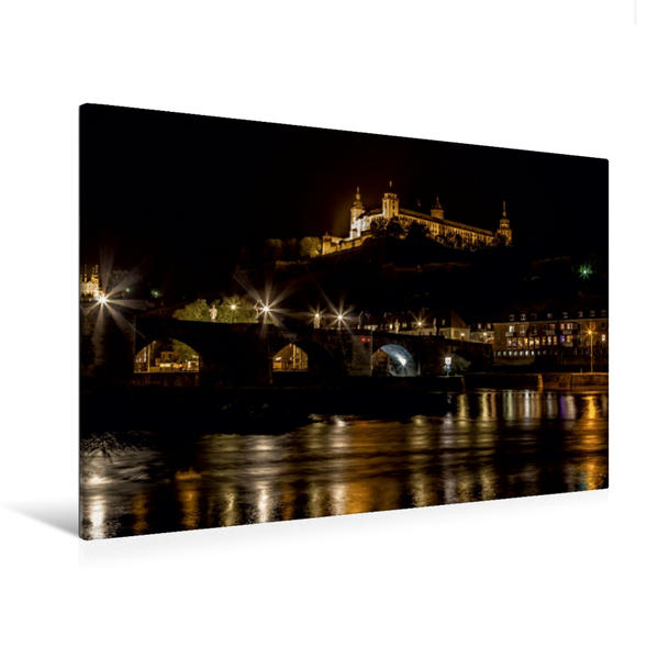 Premium Textil-Leinwand 120 cm x 80 cm quer, Festung Marienberg in Würzburg bei Nacht   Wandbild, Bild auf Keilrahmen, Fertigbild auf echter Leinwand, Leinwanddruck - Coverbild