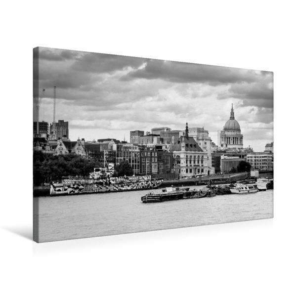 Premium Textil-Leinwand 75 cm x 50 cm quer, Blackfriars Pier/St. Pauls Cathedrale | Wandbild, Bild auf Keilrahmen, Fertigbild auf echter Leinwand, Leinwanddruck - Coverbild