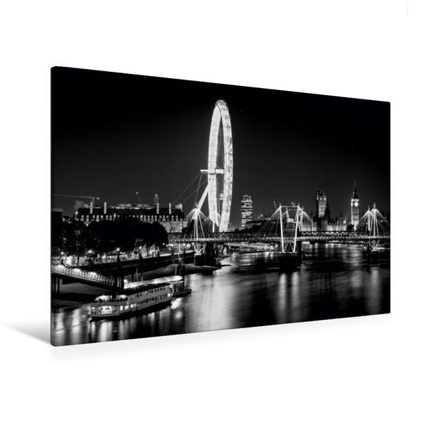 Premium Textil-Leinwand 120 cm x 80 cm quer, London Eye bei Nacht | Wandbild, Bild auf Keilrahmen, Fertigbild auf echter Leinwand, Leinwanddruck - Coverbild