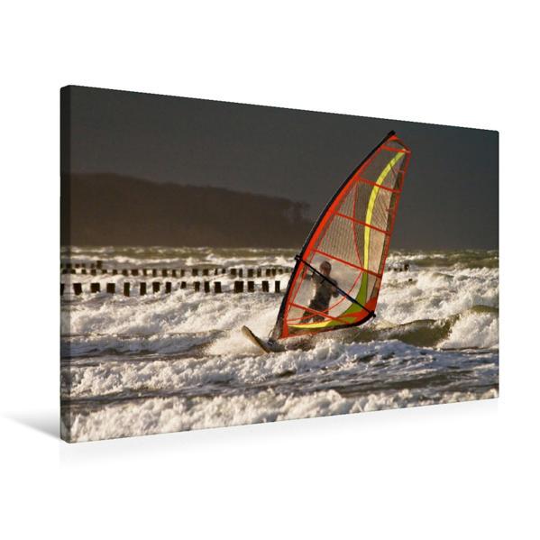 Premium Textil-Leinwand 75 cm x 50 cm quer, Surfer auf der Ostsee   Wandbild, Bild auf Keilrahmen, Fertigbild auf echter Leinwand, Leinwanddruck - Coverbild