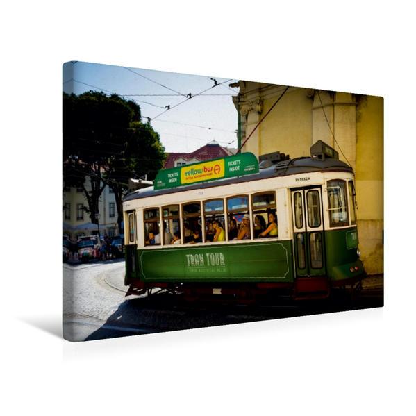 Premium Textil-Leinwand 45 cm x 30 cm quer, Strassenbahn in der Altstadt | Wandbild, Bild auf Keilrahmen, Fertigbild auf echter Leinwand, Leinwanddruck - Coverbild