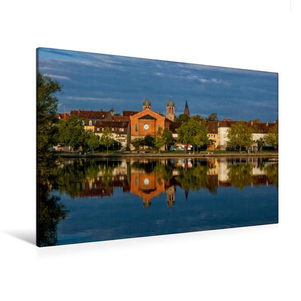 Premium Textil-Leinwand 120 cm x 80 cm quer, Synagoge Kitzingen | Wandbild, Bild auf Keilrahmen, Fertigbild auf echter Leinwand, Leinwanddruck - Coverbild
