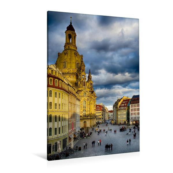 Premium Textil-Leinwand 80 cm x 120 cm  hoch, Neumarkt Dresden | Wandbild, Bild auf Keilrahmen, Fertigbild auf echter Leinwand, Leinwanddruck - Coverbild