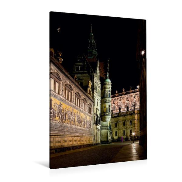 Premium Textil-Leinwand 80 cm x 120 cm  hoch, Nacht's in der Augustusstraße | Wandbild, Bild auf Keilrahmen, Fertigbild auf echter Leinwand, Leinwanddruck - Coverbild