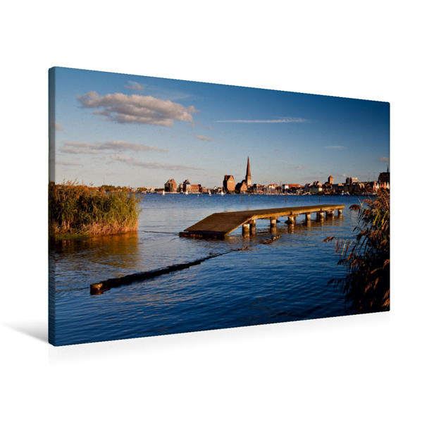 Premium Textil-Leinwand 90 cm x 60 cm quer, Blick auf Rostock | Wandbild, Bild auf Keilrahmen, Fertigbild auf echter Leinwand, Leinwanddruck - Coverbild