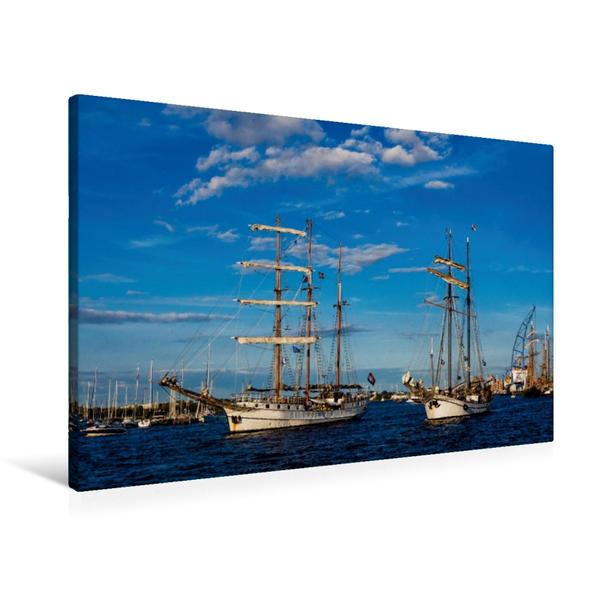 Premium Textil-Leinwand 90 cm x 60 cm quer, Windjammer zur Hanse Sail | Wandbild, Bild auf Keilrahmen, Fertigbild auf echter Leinwand, Leinwanddruck - Coverbild
