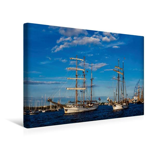 Premium Textil-Leinwand 45 cm x 30 cm quer, Windjammer zur Hanse Sail   Wandbild, Bild auf Keilrahmen, Fertigbild auf echter Leinwand, Leinwanddruck - Coverbild