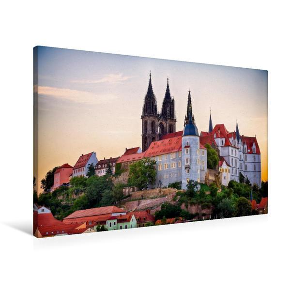 Premium Textil-Leinwand 90 cm x 60 cm quer, Schloss Albrechtsburg Meißen   Wandbild, Bild auf Keilrahmen, Fertigbild auf echter Leinwand, Leinwanddruck - Coverbild