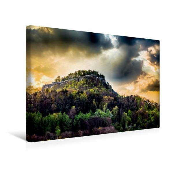 Premium Textil-Leinwand 45 cm x 30 cm quer, Festung Königstein | Wandbild, Bild auf Keilrahmen, Fertigbild auf echter Leinwand, Leinwanddruck - Coverbild
