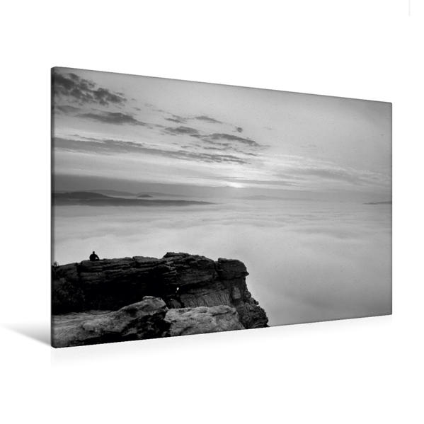 Premium Textil-Leinwand 120 cm x 80 cm quer, Sonnenaufgang vom Lilienstein gesehen   Wandbild, Bild auf Keilrahmen, Fertigbild auf echter Leinwand, Leinwanddruck - Coverbild